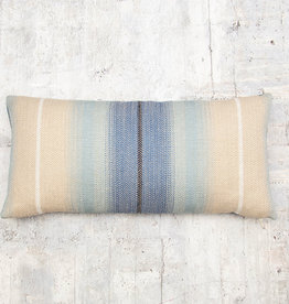 Kreatelier Striped Pillow in Cream and Blues 10 x 20in