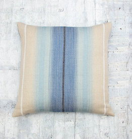 Kreatelier Striped Pillow in Cream and Blues 18 x 18in