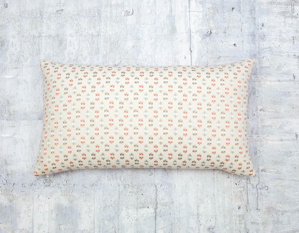 Kreatelier Geometric Pillow in Cream and Orange 13 x 23in