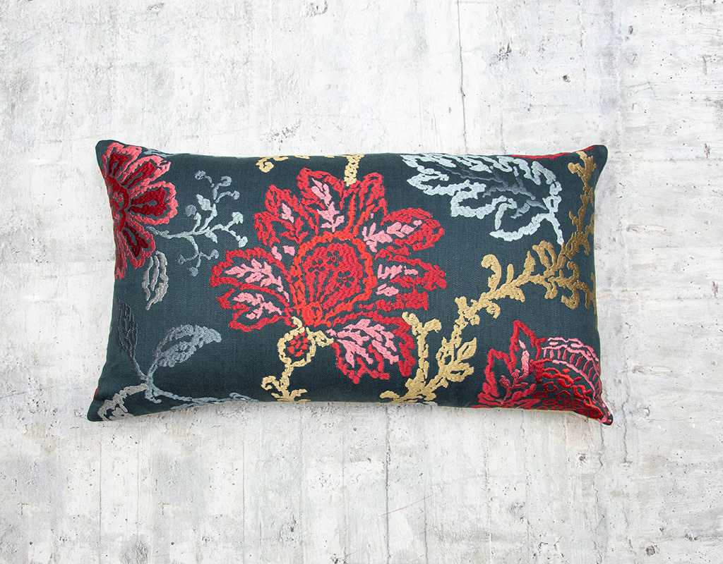 Kreatelier Embroidered Pillow Flowers Red and Pink 13 x 23in