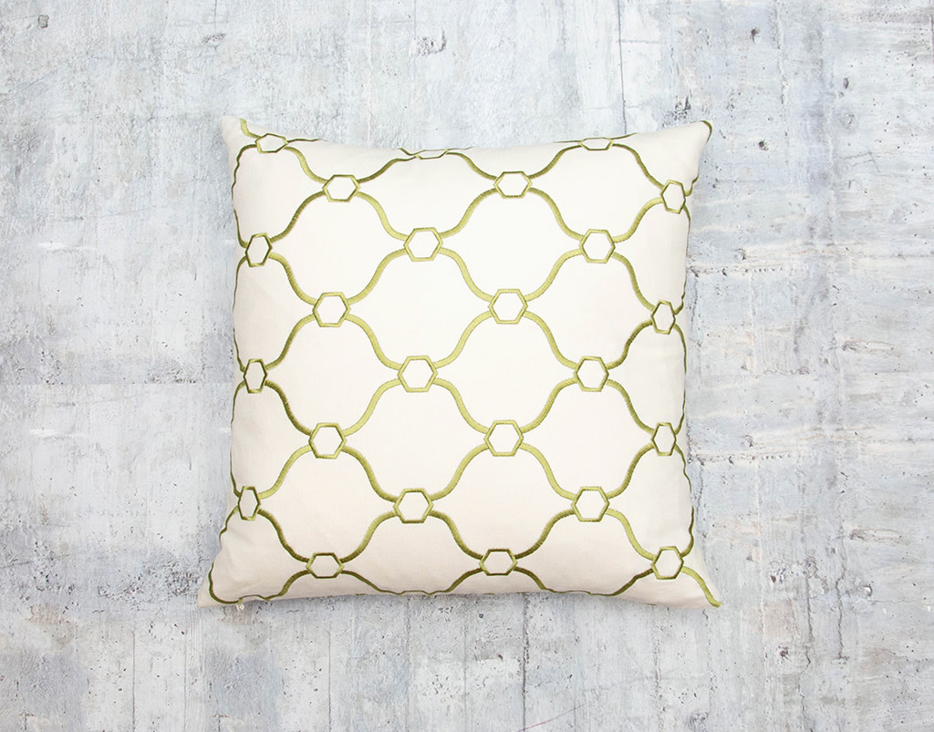 Kreatelier Embroidered Pillow in Green 17 x 17in