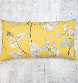 Kreatelier Pillow Yellow with Leaves in Grey 13 x 23in