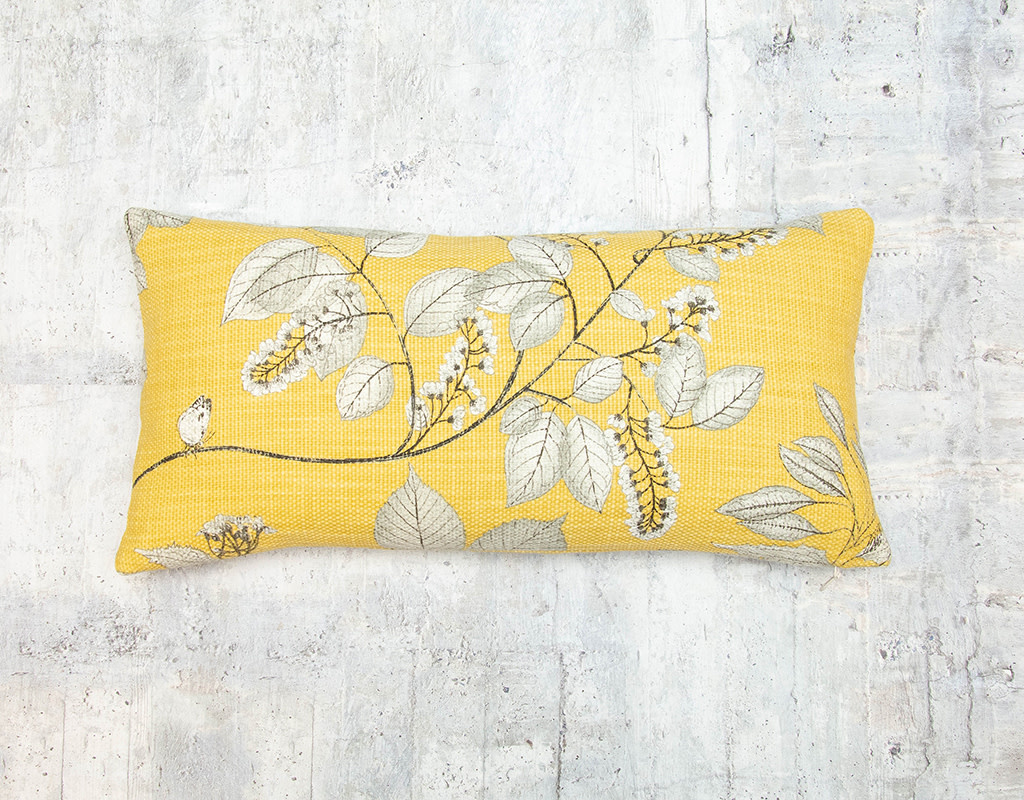Kreatelier Pillow Yellow with Leaves in Grey 10 x 20in