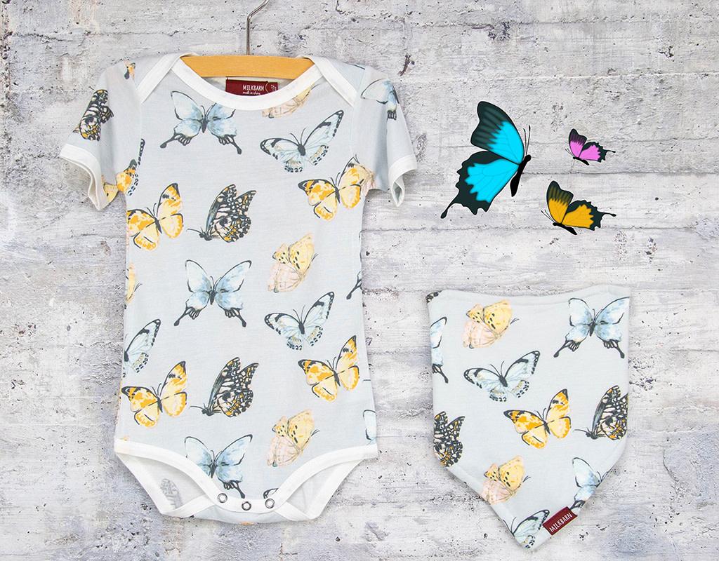 Milkbarn Bundle Butterfly Kerchief & One Piece 6-12M
