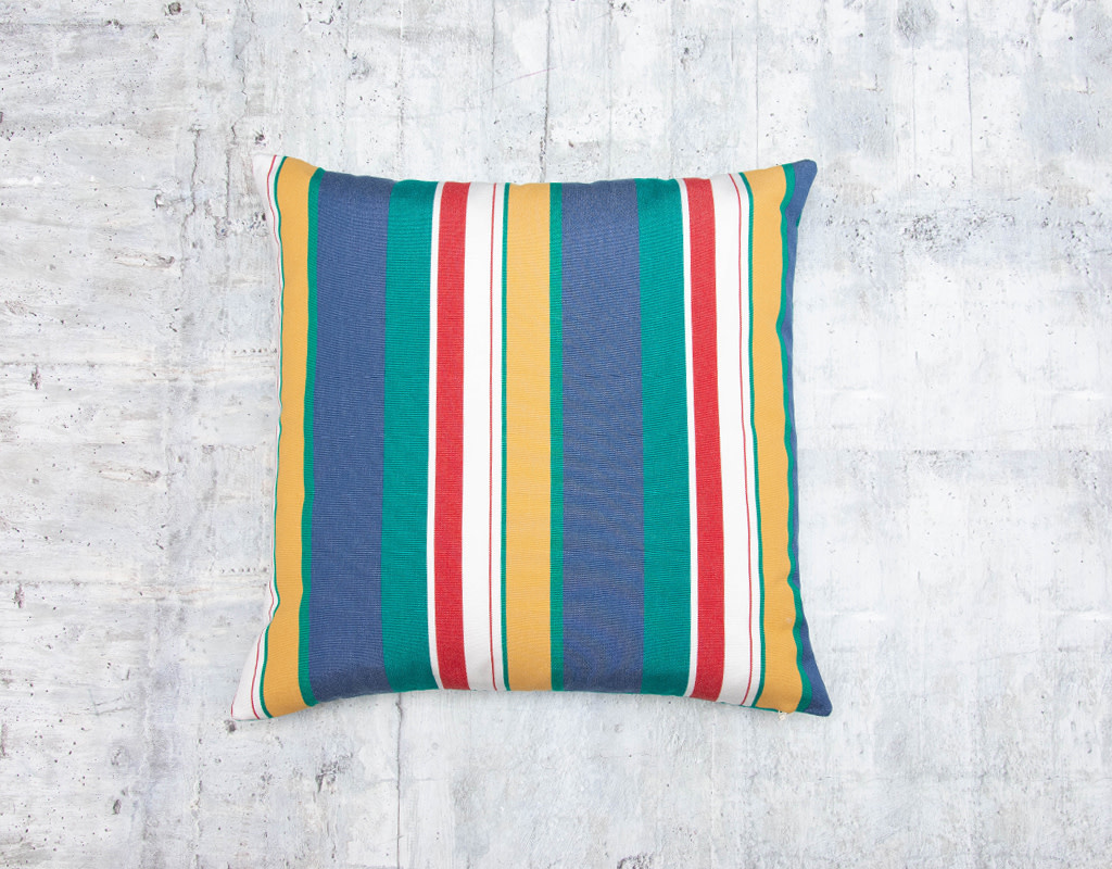 Kreatelier Summer Stripes Pillow in Green and Blue 17 x 17in