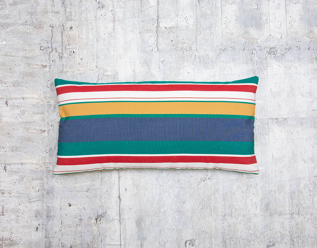 Kreatelier Summer Stripes Pillow in Green and Blue 10 x 20in