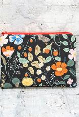 Blue Ridge Vintage Small Zip Pouch Strawberry Fields Black