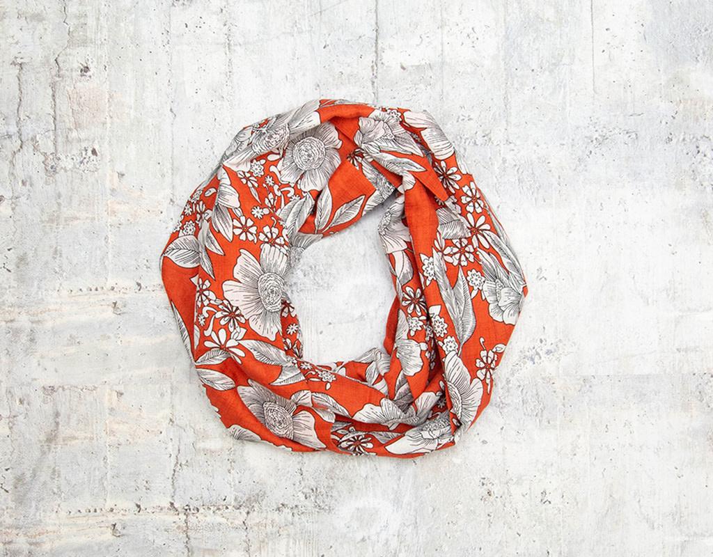 Make Ends Meet Scarf Infinity Botanical Orange