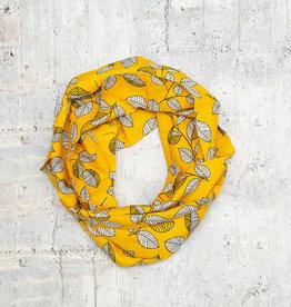 Make Ends Meet Scarf Infinity Leaves Black & Yellow