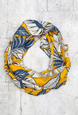 Make Ends Meet Scarf Infinity Leaves on Yellow