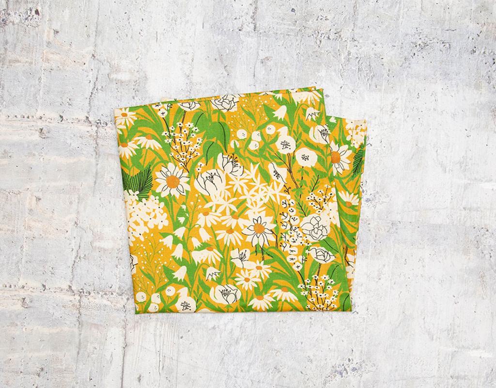 Maz Q's Napkin Floral Green & Mustard Set of 4