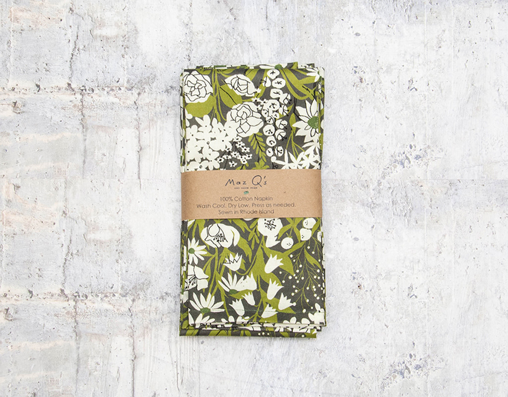 Maz Q's Napkin Floral Green & Grey Set of 4