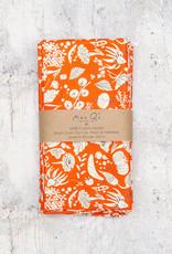 Maz Q's Napkin Vegetables Orange & White Set of 4