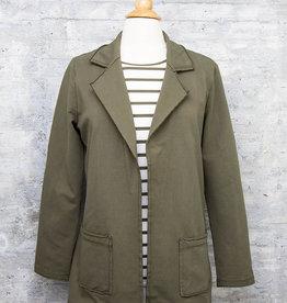 Zenara Long Blazer Military Green
