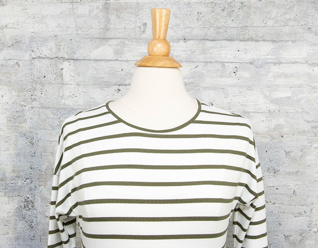 Zenara Striped Top Green