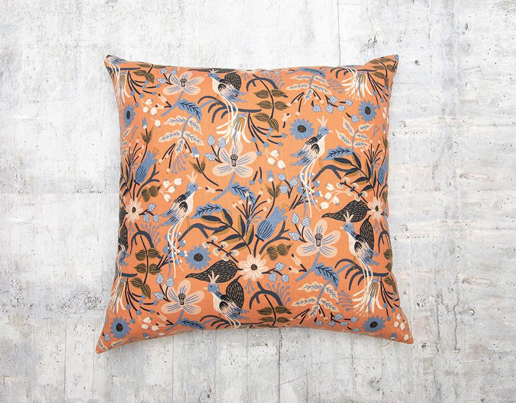 Kreatelier Les Fleurs Folk Birds Peach Pillow 18 x 18in
