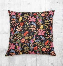Kreatelier Les Fleurs Folk Birds Black Pillow 18 x 18in