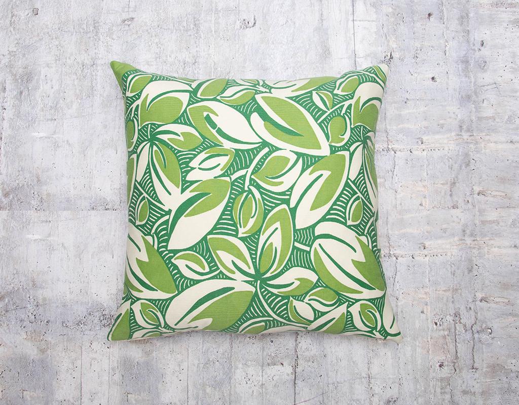 Kreatelier Leaves Green Pillow 17 x 17in