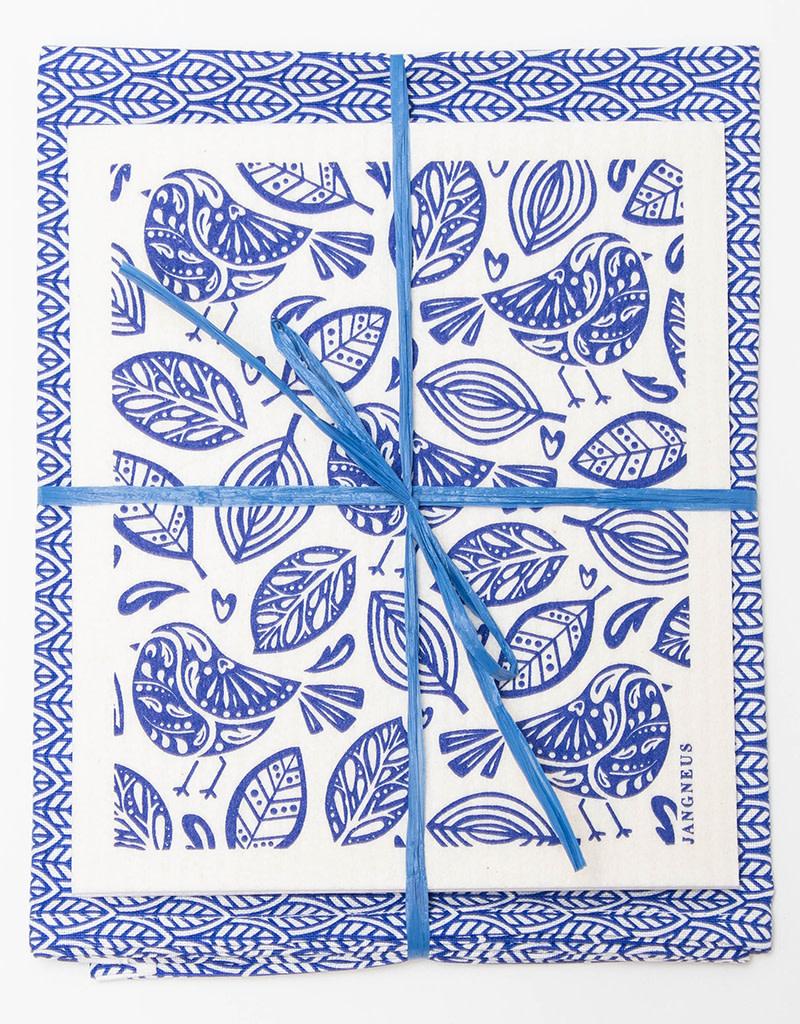 Esthetic Living Tea Towel and Swedish Dishcloth Leaves Robins Blue