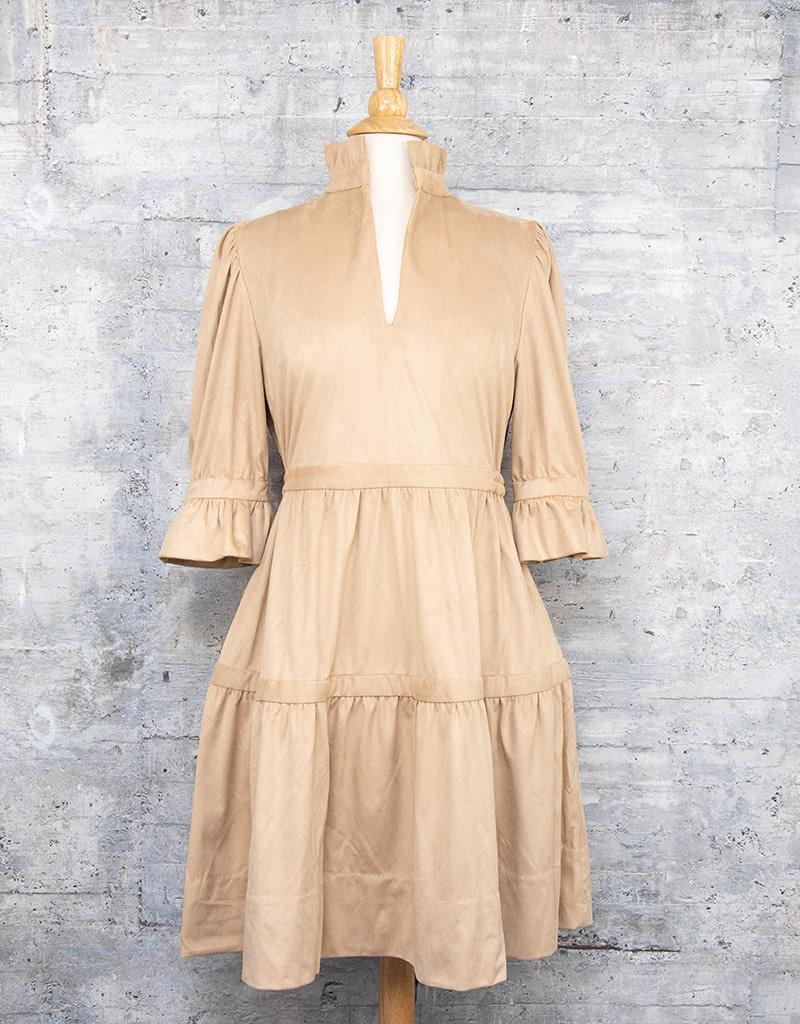 Gretchen Scott Ultra Suede Teardrop Dress Beige