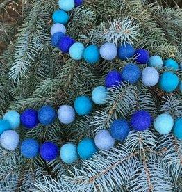 The Winding Road Garland Balls Felt Blue
