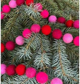 The Winding Road Garland Balls Felt Hot Pink
