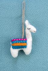 The Winding Road Llama Ornament Blue