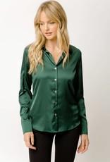 Mystree Satin Shirt Hunter Green