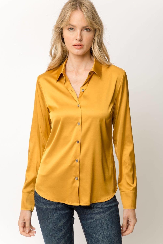 Mystree Satin Shirt Gold Mustard