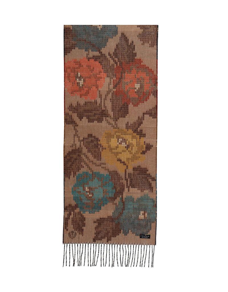 Fraas Scarf Pixel Floral Cashmink Camel