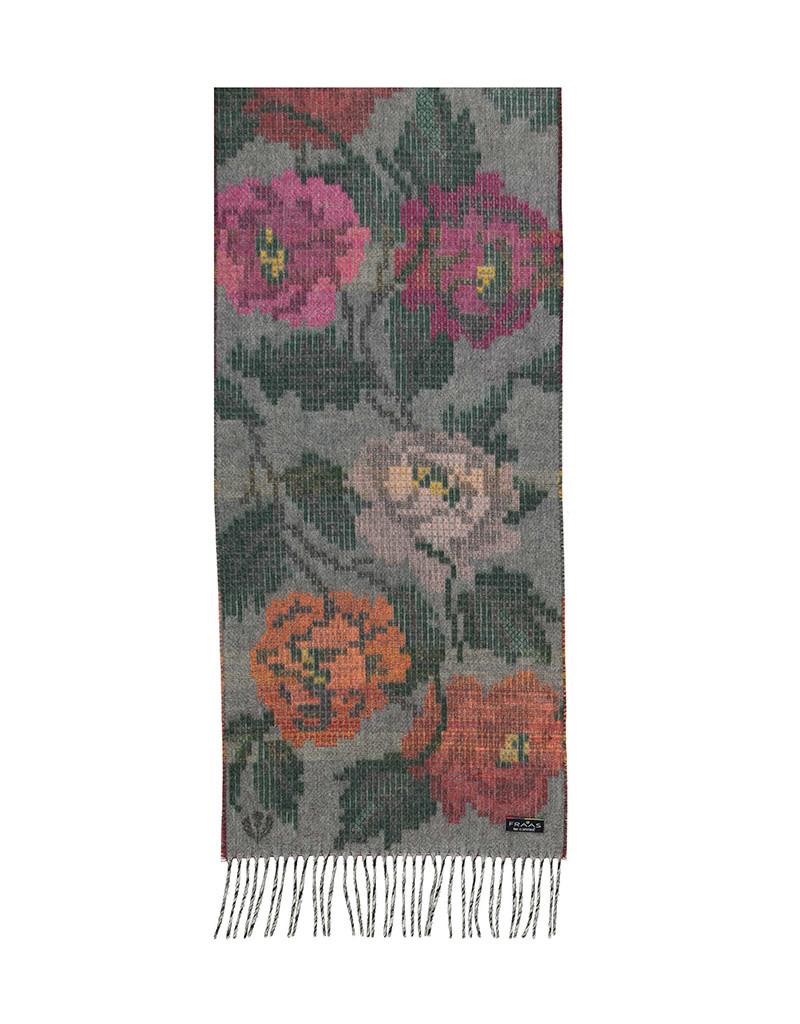 Fraas Scarf Pixel Floral Cashmink Mid Grey