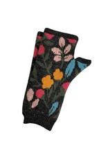 Tey-Art Calli Alpaca Floral Gloves Charcoal