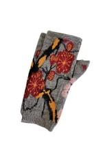 Tey-Art Cherry Blossom Alpaca Floral Gloves Gray