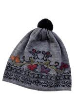 Tey-Art Janna Alpaca Glove & Hat Embroidered Gray