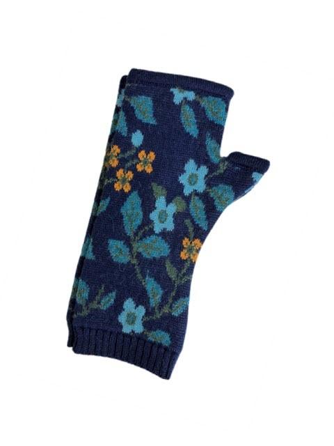 Tey-Art Primrose Alpaca Floral Gloves Navy