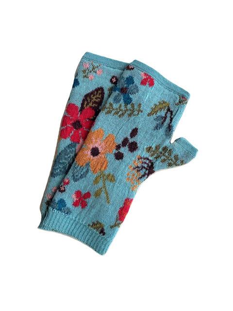 Tey-Art Turquesa Alpaca Floral Gloves Aqua