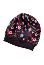 Tey-Art Asia Alpaca Floral Hat Black