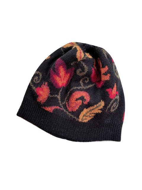 Tey-Art Luisa Alpaca Floral Hat Black