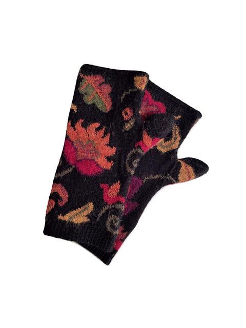 Tey-Art Luisa Alpaca Floral Gloves Black