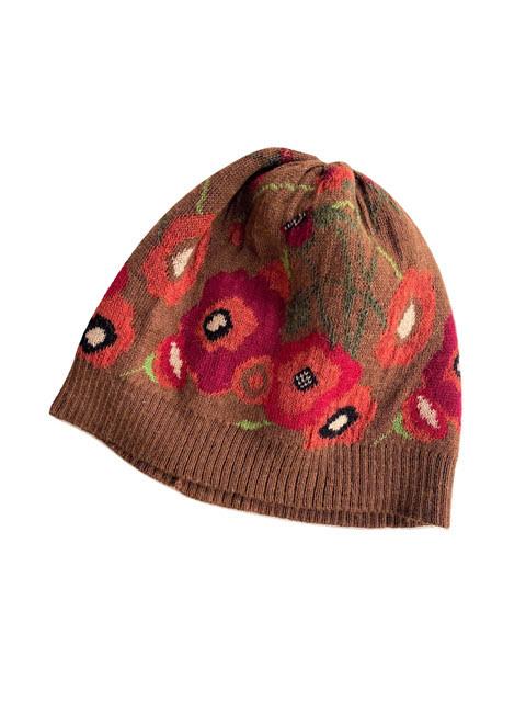 Tey-Art Poppies Alpaca Floral Hat Brown