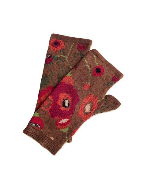 Tey-Art Poppies Alpaca Floral Gloves Brown