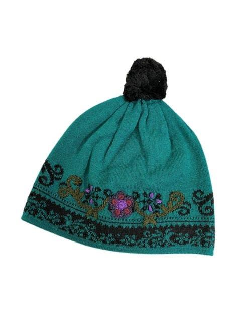 Tey-Art Jade Alpaca Gloves & Hat Embroidered Turquoise