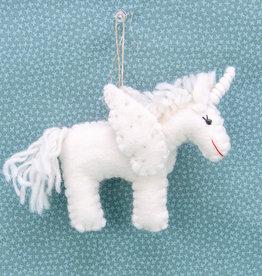 The Winding Road Rainbow White Unicorn Ornament