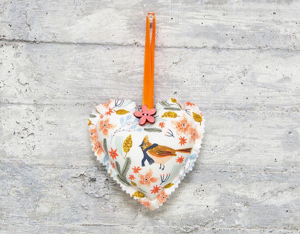 Kreatelier Fabric Heart Ornament Winter Birds