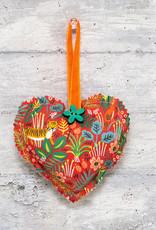 Kreatelier Fabric Heart Ornament Jungle Red