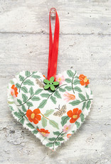 Kreatelier Fabric Heart Ornament Flowers & Butterflies