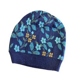 Tey-Art Primrose Alpaca Floral Hat Navy