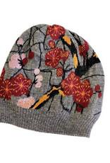 Tey-Art Cherry Blossom Alpaca Floral Hat Gray