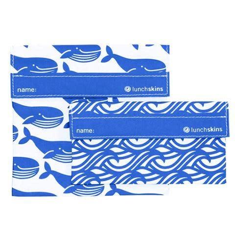 Lunchskins 2-Pack Reusable Bag Set Whale Blue (Velcro)