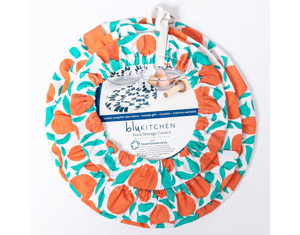 Rockflowerpaper Cotton Dish Cover Oranges